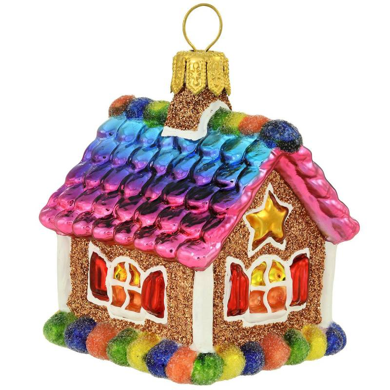 Rainbow Gingerbread House Glass Ornament 1212539