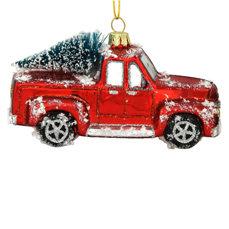 Red Pickup Truck With Christmas Tree Ornament 1196848