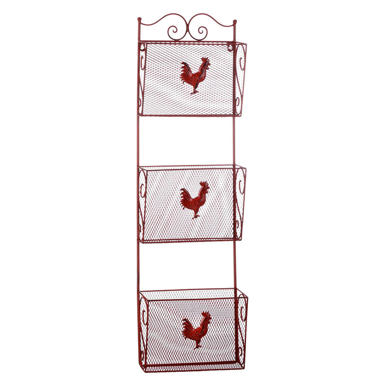 Red Rooster Triple Basket Wall Organizer 10019104