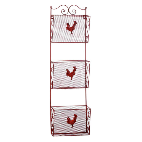 Red Rooster Triple Basket Wall Organizer