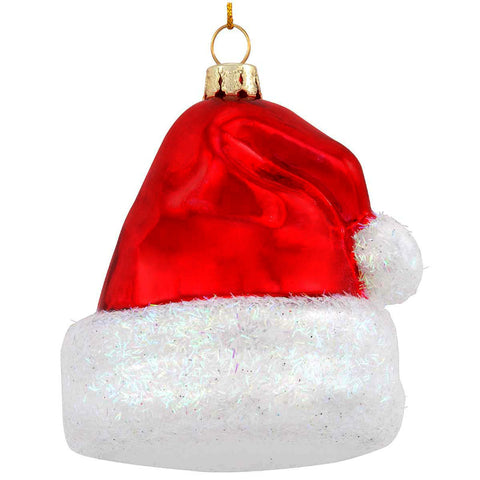 Red Santa Cap Glass Ornament