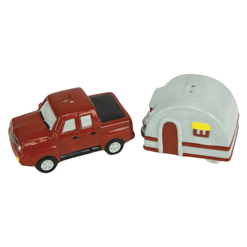 Red Truck With Camper Salt and Pepper Shakers