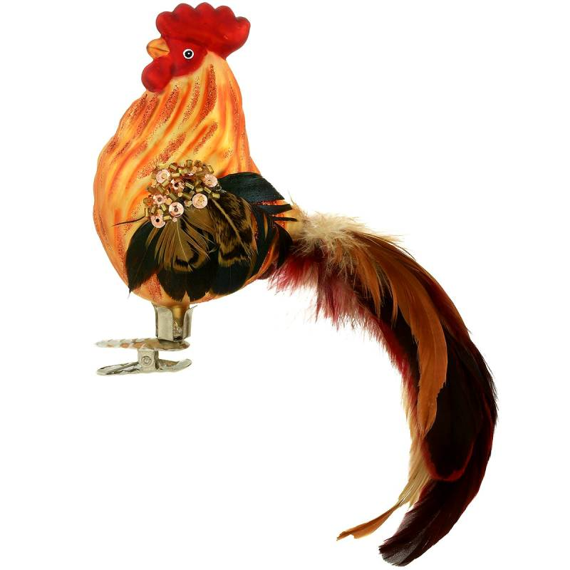 Rooster Clip-On Glass Ornament 1208770