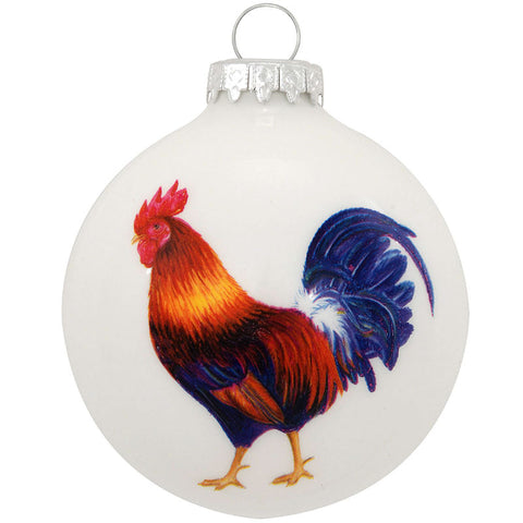 Rooster Legend Glass Ornament