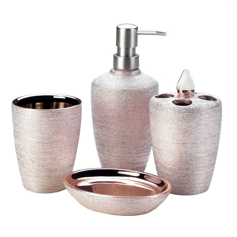 Rose Gold Shimmer Bath Accessory Set 10018332
