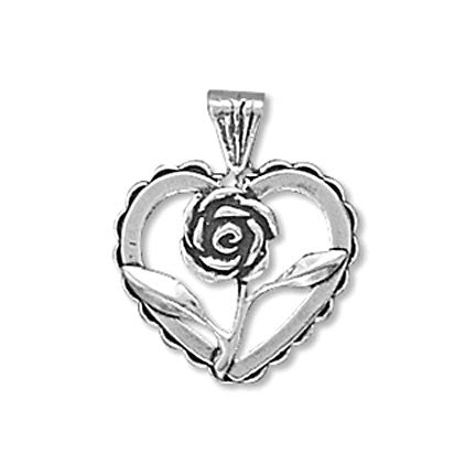 Rose Heart Charm Pendant