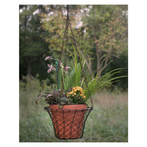 Round Hanging Mesh Basket With Pot