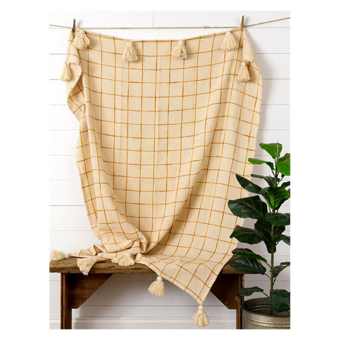 Rust Window Pane Plaid Blanket Throw