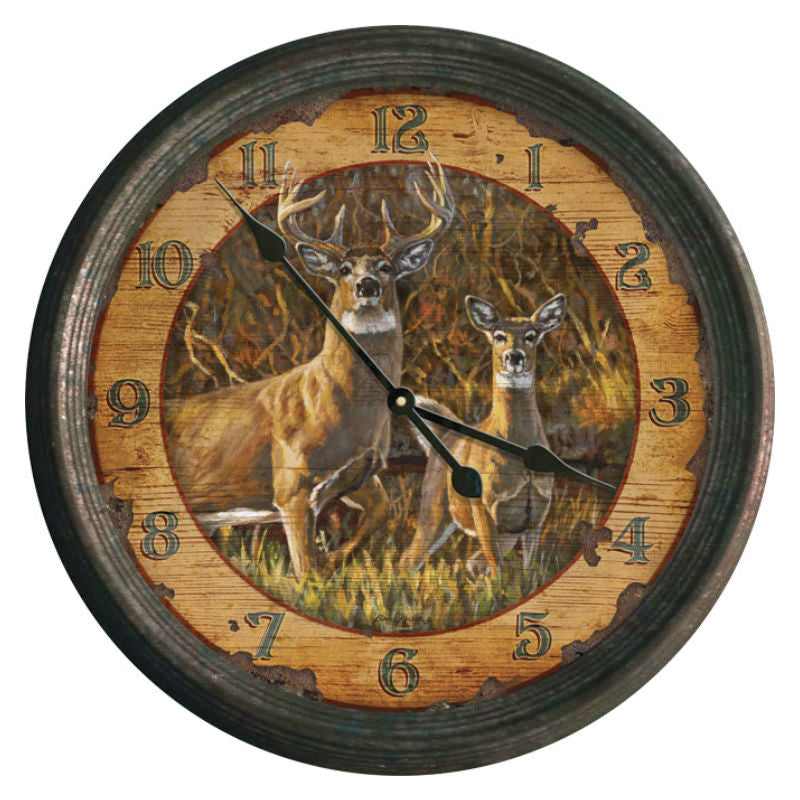 Rustic Deer Couple Wall Clock 1025