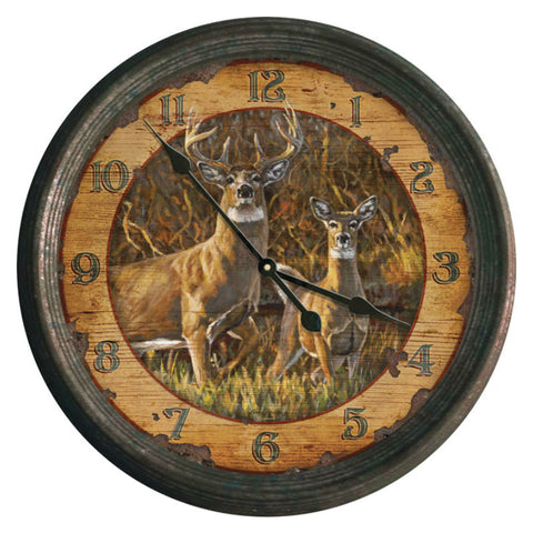 Rustic Deer Couple Wall Clock