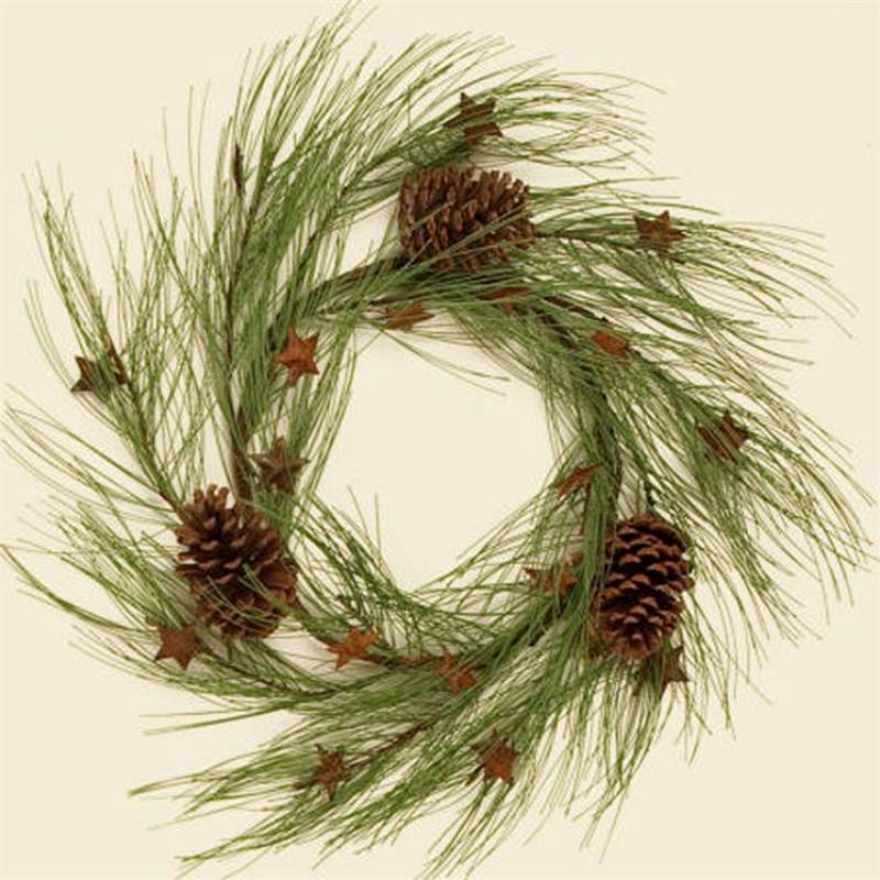 Rusty Stars and Long Needle Pine Cones Wreath 7F4938