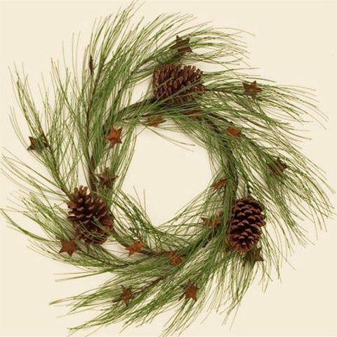 Rusty Stars and Long Needle Pine Cones Wreath