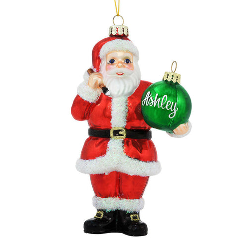 Santa Claus Holding Christmas Ornament