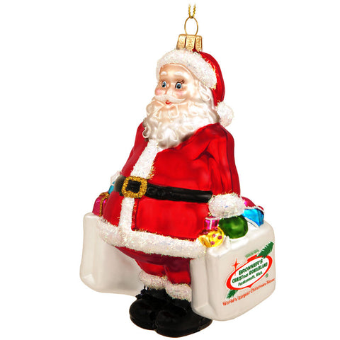 Santa Claus Shopping Bag Glass Ornament