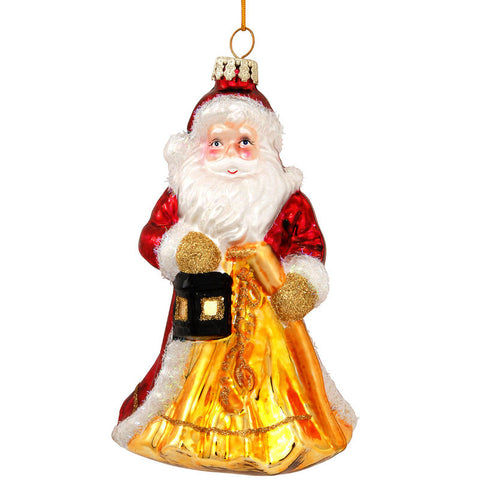 Santa Claus With Lantern Glass Ornament