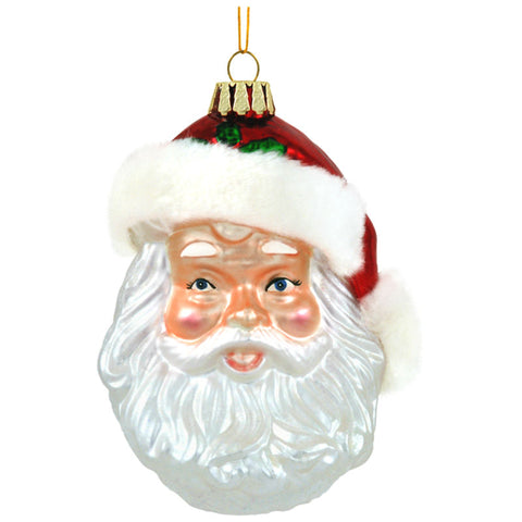 Santa Face With Fur Hat Glass Ornament