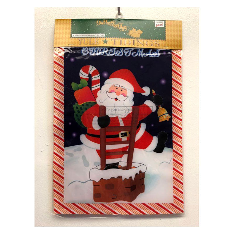 Santa On Ladder Mini Holiday Garden Flag 1419920B