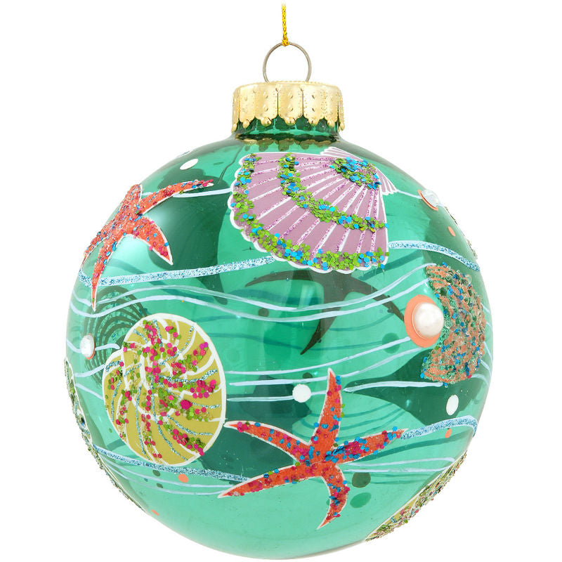 Seashell Designs Glass Ornament 1168329