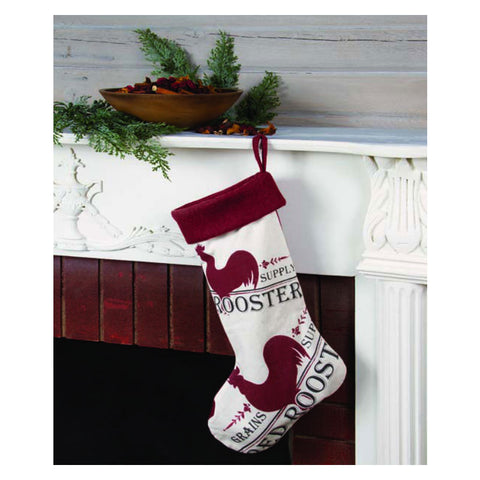 Seed Bag Roosters Christmas Stocking
