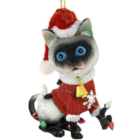 Siamese Cat With Santa Hat Ornament