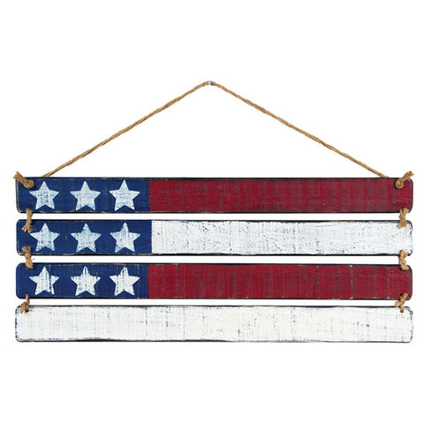 Slatted Wooden American Flag Plaque