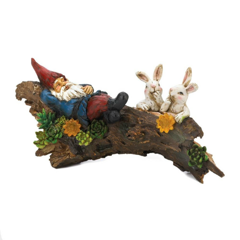 Sleeping Gnome and Bunnies Solar Figurine