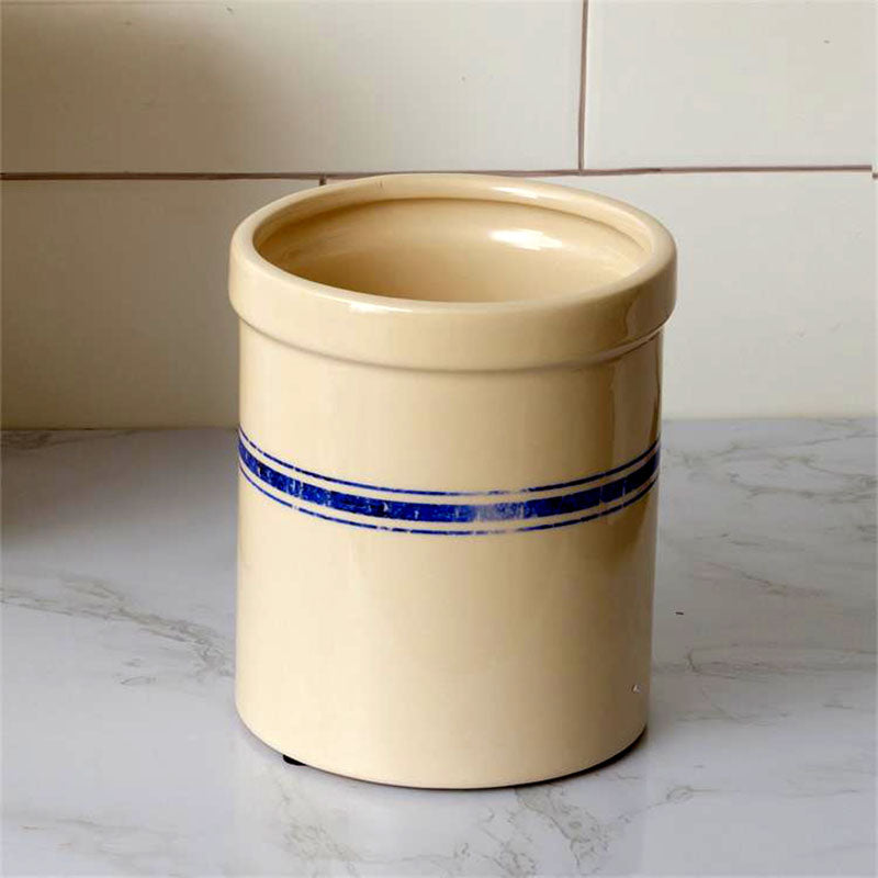 Small Flour Sack Blue Striped Kitchen Crock 8PT1289