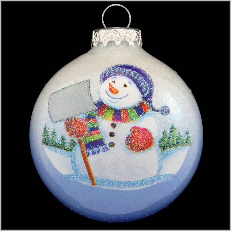 Snowman With Shovel Glass Ornament 1181563