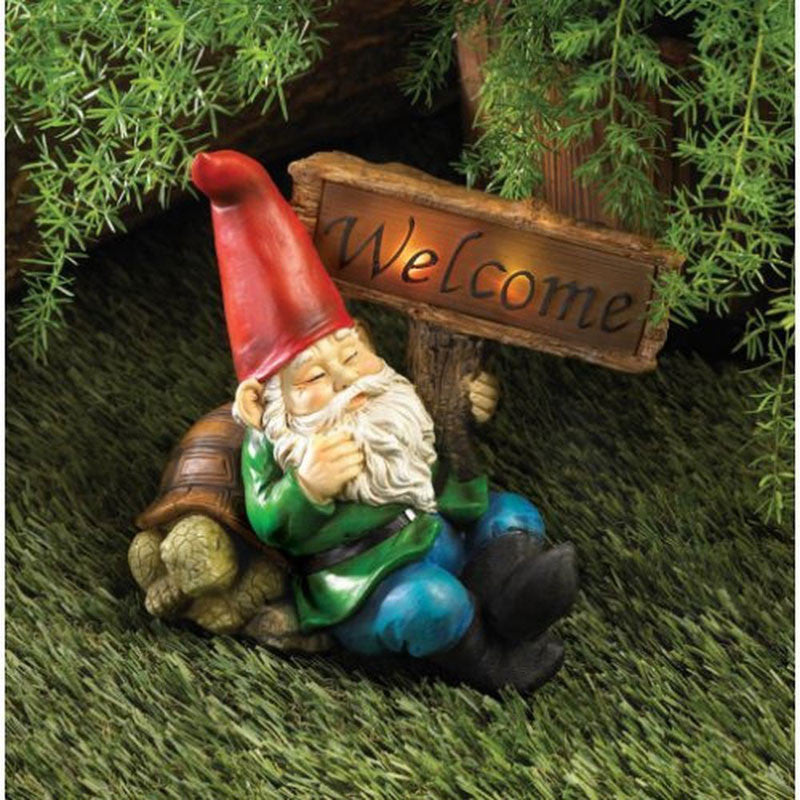Solar Powered Welcome Gnome Statue 10015673