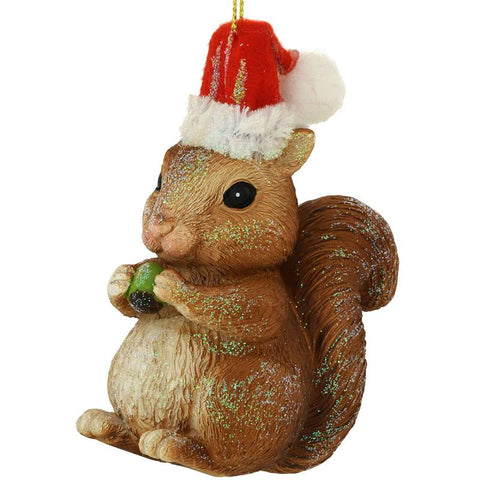 Squirrel With Santa Hat Ornament