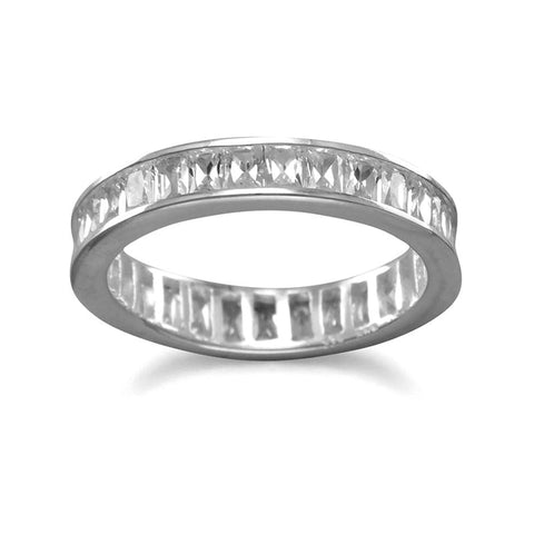 SS Baguette Set CZ Eternity Band Ring