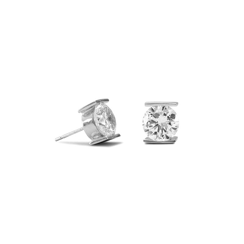 SS Tension Set CZ Earrings 6521