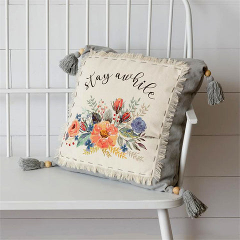 Stay Awhile Floral Throw Pillow