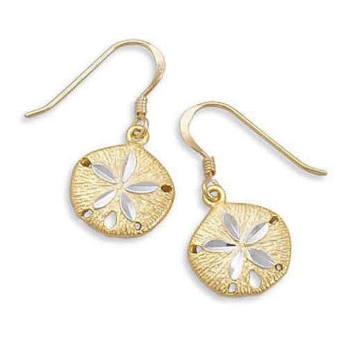 Sterling Silver 14k Gold Sand Dollar Earrings 64007