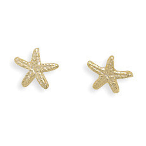Sterling Silver 14K Gold Starfish Earrings 64667