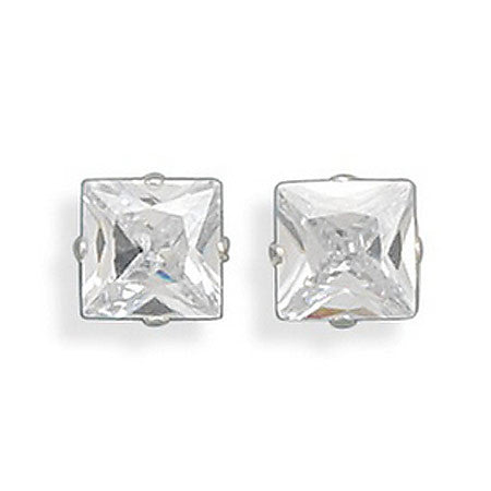 Sterling Silver Square Cubic Zirconia Earrings 64780