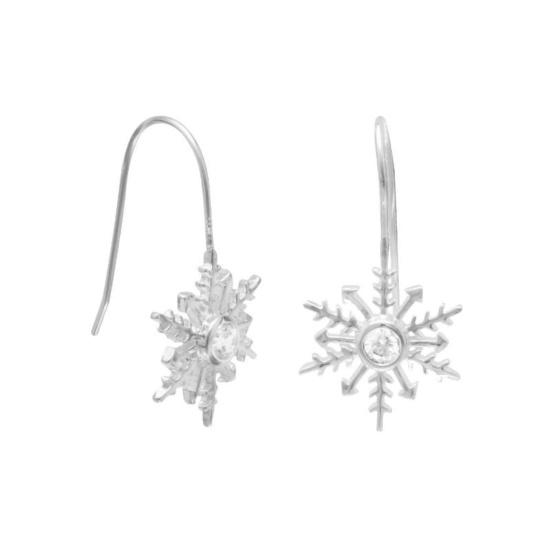 Sterling Silver CZ Snowflake Earrings 62628