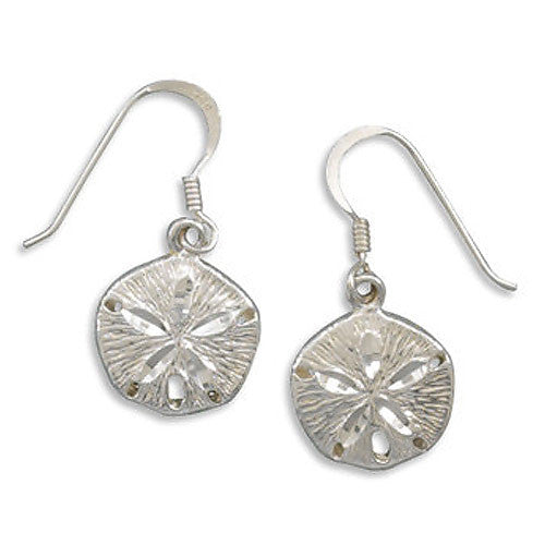 Sterling Silver Diamond Cut Sand Dollar Earrings 64136
