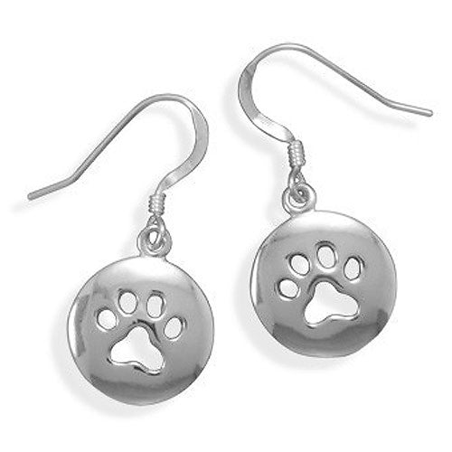 Sterling Silver Dog or Cat Paw Print Earrings 65213