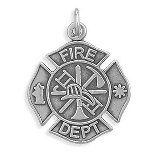 Sterling Silver Firefighter Maltese Cross Pendant 7082