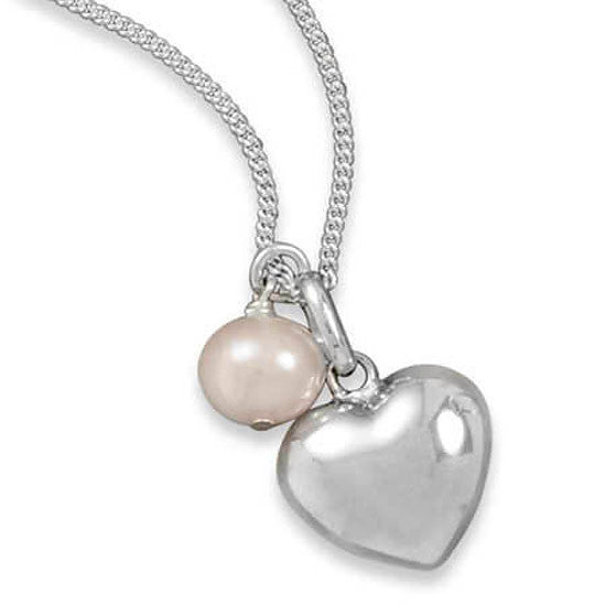 Sterling Silver Heart and Cultured Pearl Necklace 33436