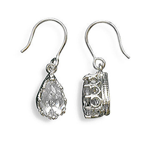 Sterling Silver Pear Cubic Zirconia Crown Edge Earrings 62994