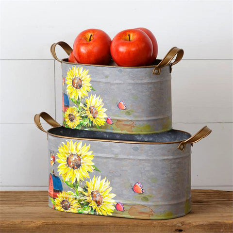 Sunflowers and Butterflies Oval Tins