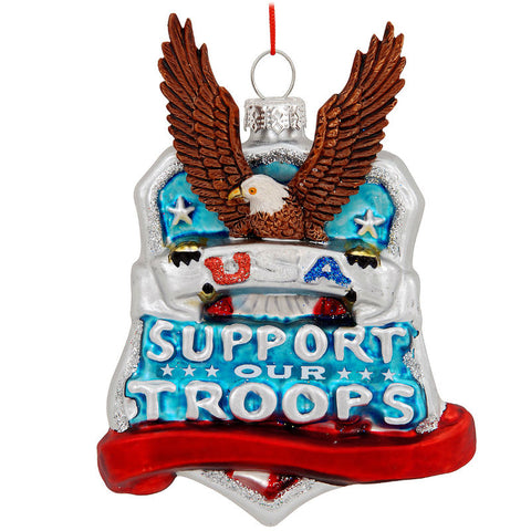 Support Our Troops Glass Ornament