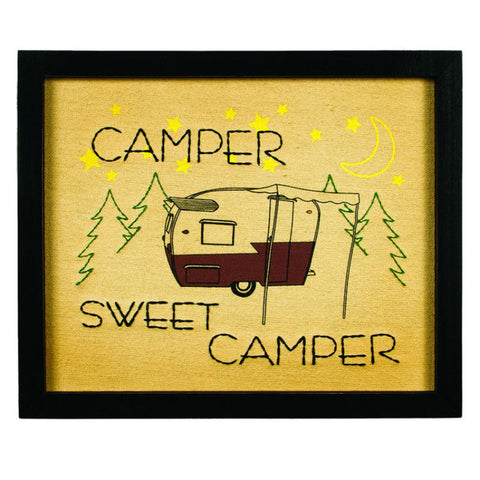 Sweet Camper Framed Stitchery