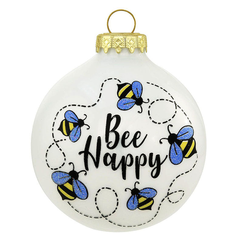 Swirling Bee Happy Glass Ornament 1215138