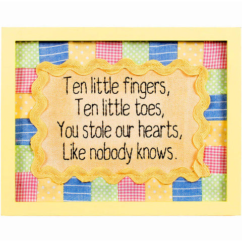 Ten Little Fingers and Toes Framed Stitchery