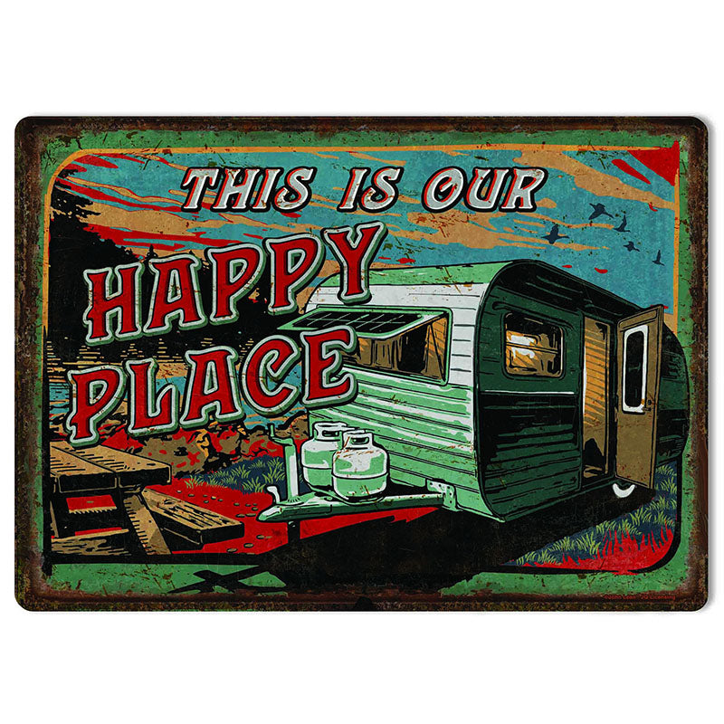 This Is Our Happy Place Travel Trailer Tin Sign 2618