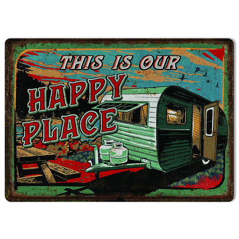 This Is Our Happy Place Travel Trailer Tin Sign