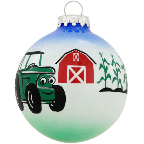 Tractor With Barn Glass Ornament